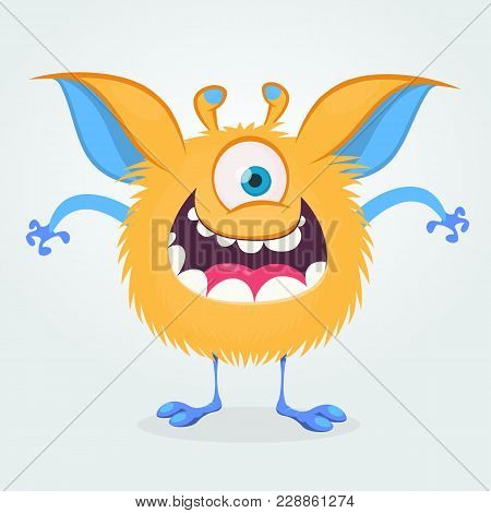 Cute Cartoon Monster With One Eye. Smiling Monster Emotion With Big Mouth. Halloween Vector Illustra