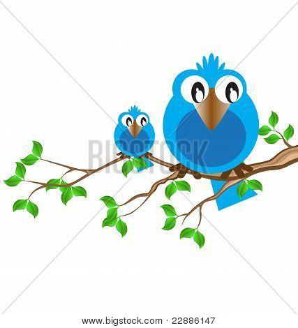 the blue birdie on a branch speaks