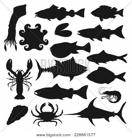 Seafood Black Silhouette Set. Shellfish And Sea Fish, Various Species Of Mollusks Served As Food In