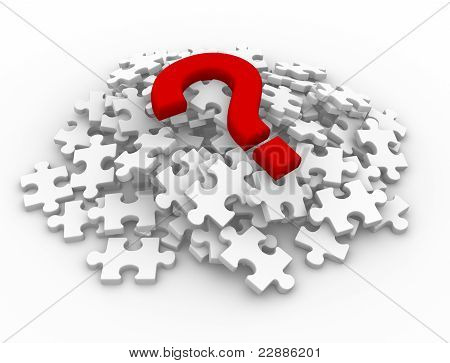 Puzzle Pieces And Question Mark