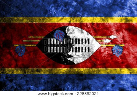 Swaziland Grunge Flag On Old Dirty Wall