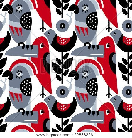 Seamless Vector Pattern. The Stylized Images Of Birds And Plants. Toucan, Parrot, Snail. Modern Desi