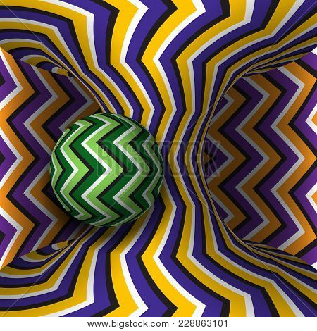 Optical Motion Illusion Illustration. Sphere Is Rotation Around Of A Moving Hyperboloid. Abstract Fa