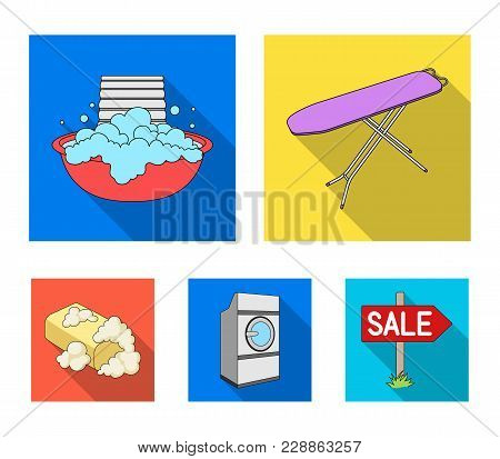 Ironing Board And Other Accessories. Dry Cleaning Set Collection Icons In Flat Style Vector Symbol S