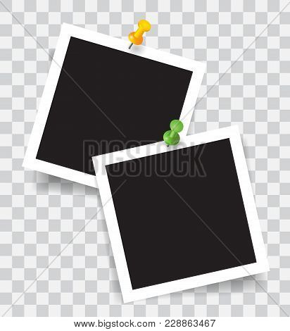 Realistic Photo Frame With Color Pins, Vector Illustration On Transparent Background