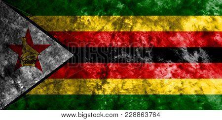 Zimbabwe Grunge Flag On Old Dirty Wall