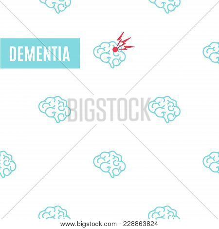 Dementia Pattern Poster. Medical Pattern Of Healthy Brains And One Affected By The Illness. Side Vie