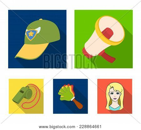 Megaphone, Whistle And Other Attributes Of The Fans.fans Set Collection Icons In Flat Style Vector S