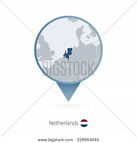 Map Pin With Detailed Map Of Netherlands And Neighboring Countries.