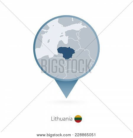 Map Pin With Detailed Map Of Lithuania And Neighboring Countries.