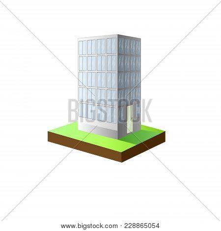 Illustration Of An Urban Scene Featuring A High Rise Condominium. High-rise White Building