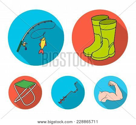 Fishing, Fish, Catch, Fishing Rod .fishing Set Collection Icons In Flat Style Vector Symbol Stock Il