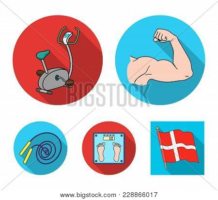 Biceps, Exercise Bike, Scales For Weighing, Skalka. Fitnes Set Collection Icons In Flat Style Vector