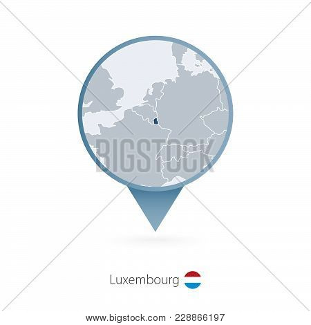 Map Pin With Detailed Map Of Luxembourg And Neighboring Countries.