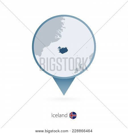 Map Pin With Detailed Map Of Iceland And Neighboring Countries.