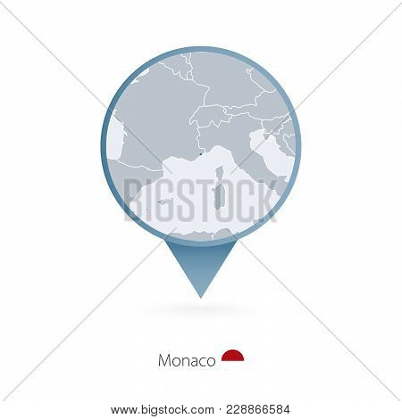 Map Pin With Detailed Map Of Monaco And Neighboring Countries.