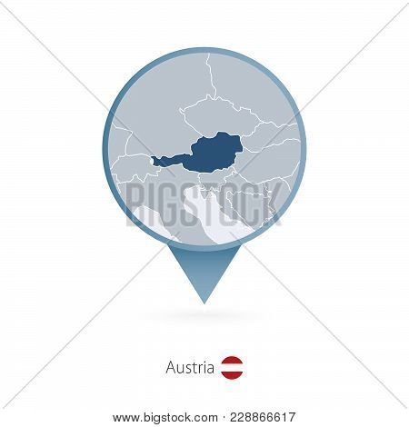 Map Pin With Detailed Map Of Austria And Neighboring Countries.