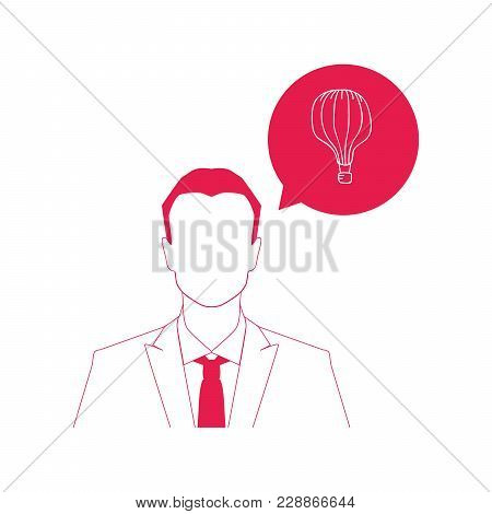 Businessman And Colorful Vintage Air Balloon Icon , Vector Illustration