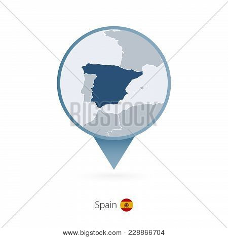 Map Pin With Detailed Map Of Spain And Neighboring Countries.
