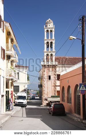 Street In Nafplio And The Bell Tower Of The Church Of Panagia. Greece, Peloponnese