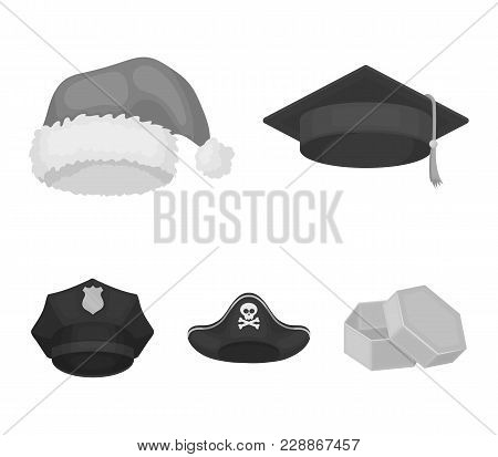 Graduate, Santa, Police, Pirate. Hats Set Collection Icons In Monochrome Style Vector Symbol Stock I