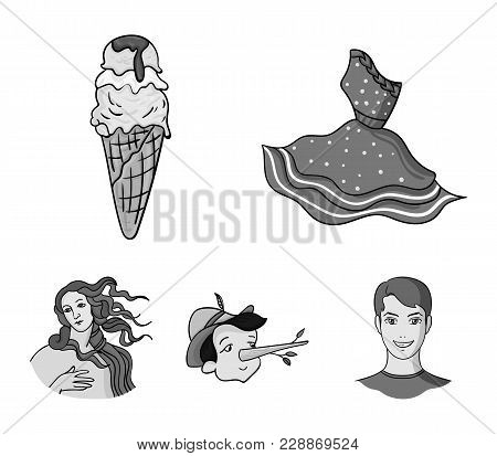 Italian Dress, Gelato, Pinocchio, Goddess Of Love. Italy Set Collection Icons In Monochrome Style Ve