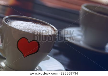 Awesome Strong Coffee Espresso And Logo Heart .