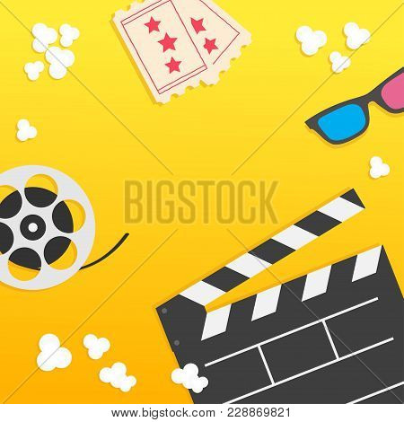 Popcorn. Open Clapper Board From Top Down Perspective. Air View. Movie Reel. 3d Glasses. Two Tickets