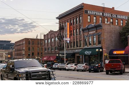 Nebraska, Usa - Aug 10, 2017: Brick Commercial Buildings With Preserved Historical Aesthetic Charact
