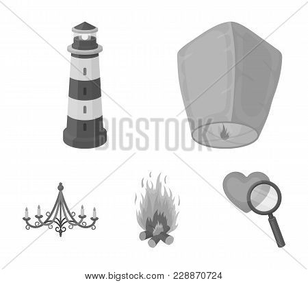A Light Lantern, A Lighthouse, A Fire, A Chandelier With Candles.light Source Set Collection Icons I