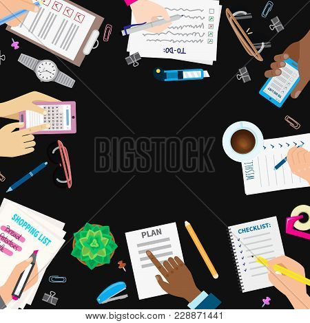 Agenda List Concept Vector Illustration. Business Paper Clipboard In Flat Style. Self-adhesive Notes