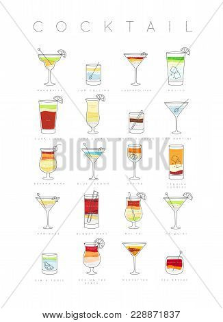 Poster Flat Cocktails Menu With Glass, Recipes And Names Of Cocktails Drinks Drawing On White Backgr