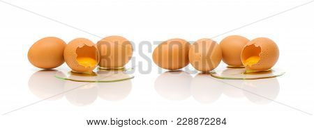 Chicken Eggs On A White Background. Horizontal Photo.