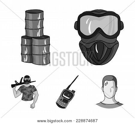 Equipment, Mask, Barrel, Barricade .paintball Set Collection Icons In Monochrome Style Vector Symbol