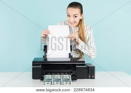 Portrait Of Attractive Happy Woman In Striped Shirt Isolated On Blue Background Printing Dollar Bank