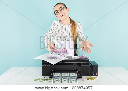 Portrait Of Attractive Happy Woman In Striped Shirt And Eyeglasses Isolated On Blue Background Print