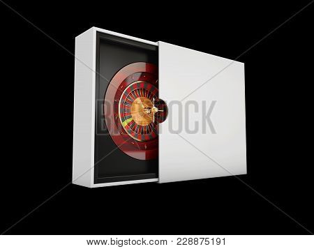 3d Illustration Of Roulette Wheel Isolated On Black Background.