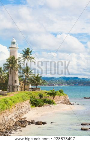 Galle, Sri Lanka, Asia - Visiting The Beach Near To The Old Lighthouse Of Galle