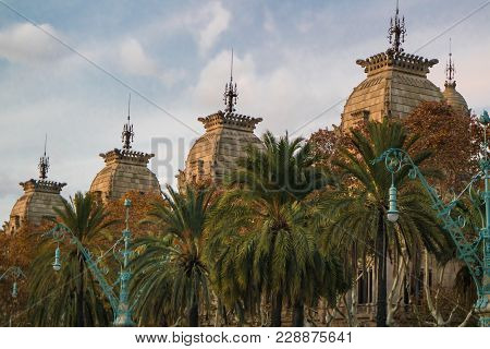 Architectural Details Of The High Court Of Justice Of Catalonia From The Walk Lluis Companys