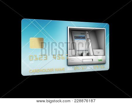 3d Illustration Of Money Withdrawal. Atm And Credit Or Debit Card. Isolated Black.