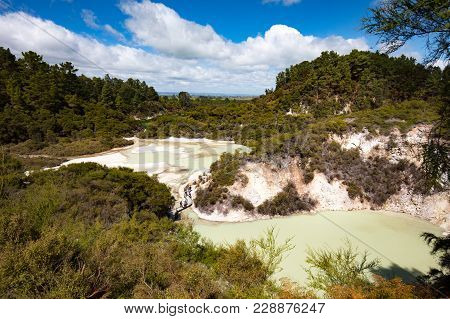 Wai-o-tapu Geothermal Wonderland Near Rotorua In New Zealand