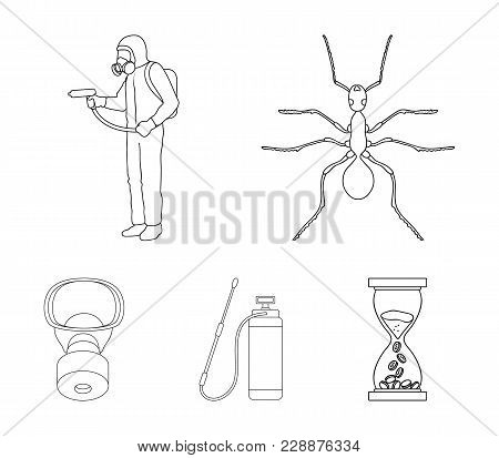 Ant, Staff In Overalls And Equipment Outline Icons In Set Collection For Design. Pest Control Servic