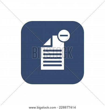 -delete Document- Icon. Flat Design. Vector Illustration