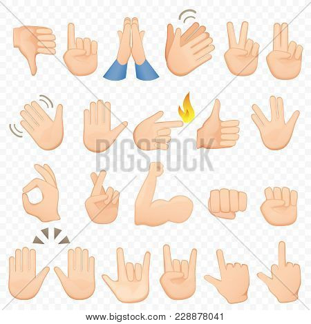 Set Of Cartoon Hands Icons And Symbols. Emoji Hand Icons. Different Hands, Gestures, Signals And Sig