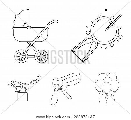 Artificial Insemination, Baby Carriage, Instrument, Gynecological Chair. Pregnancy Set Collection Ic