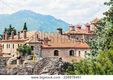 View To  Meteora Monastery. Thessalia, Greece, Europe.