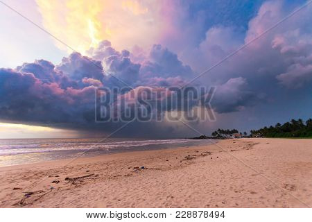 Ahungalla Beach, Sri Lanka, Asia - Colorful Clouds And Light During Sunset At The Beach Of Ahungalla