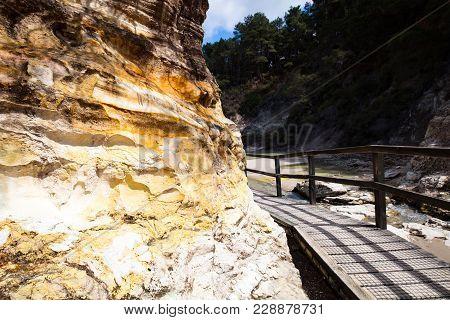 Alum Cliffs At Wai-o-tapu Geothermal Wonderland Near Rotorua In New Zealand