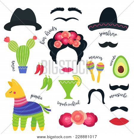 Mexican Fiesta Party Symbols And Photo Booth Props. Vector Design.