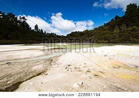 Frying Pan Flat Crater Pools At Wai-o-tapu Geothermal Wonderland Near Rotorua In New Zealand